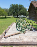 Old farm equipment. Antique reaper at the county museum in Refugio Texas Royalty Free Stock Images