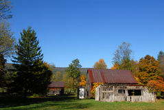 Old farm in Fall. Old wood farm  buildings in West Virginia in Fall Royalty Free Stock Image