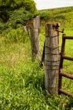 Old Farm Fence and Bird House Stock Photo