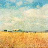 Old farm in the field vintage effect Royalty Free Stock Photo
