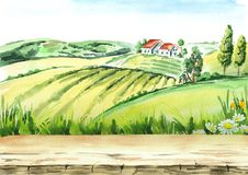 Old farm and fields in countryside with empty table as background. Watercolor hand drawn illustration. Old farm and fields in countryside with empty table as Stock Images