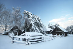 Old farm in the forest at winter Royalty Free Stock Photos