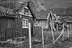 Old farm in Geiranger. Black and white photo of old farm in Geriranger Royalty Free Stock Image