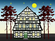 Old farm house. Picturesque farm house at night time anywhere in Europe Stock Photos