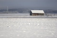 Old farm house in winter royalty free stock photos