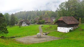 Old farm houses in Ballenberg, a Swiss open-air museum in Brienz Stock Photos
