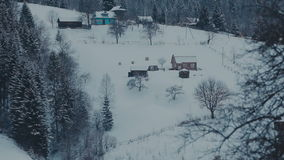 Old farm in the mountains. Foggy winter morning. stock footage