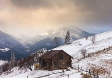 Old farm in the mountains at winter.  Royalty Free Stock Photo