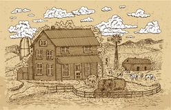 Old farm or ranch with farmhouse, cows and white clouds on texture background. Black vintage engraving, hand drawn design illustrations for label, poster. Rural stock illustration
