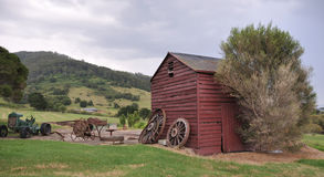 Old farm shed. On rolling hills in NSW, Australia stock photo
