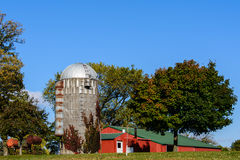 Old Farm Silo. This is an old corn grain silo in a farm in Minnesota Royalty Free Stock Images