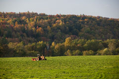 Old farm tractor in a field. Stock Photo