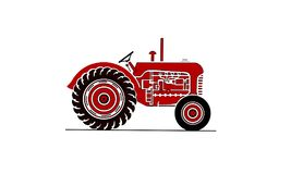 Old fram tractor illustration in red royalty free stock images