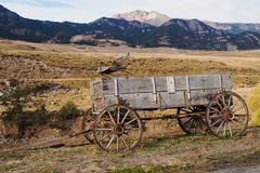 Old Farm Wagon in Montana. Old Farm Wagon in the Yellowstone River Valley near Gardiner, Montana Royalty Free Stock Photography