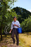 Old farmer fertilizing in an orchard Royalty Free Stock Photo