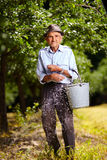 Old farmer fertilizing in an orchard Stock Photography
