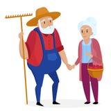 Old farmer with his wife. Elderly couple. Senior Grandpa and grandma standing. Vector cartoon illustration. Royalty Free Stock Photos