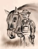 Old Farmer with a Horse Stock Photography