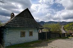 Old farmer's wooden house in slovakian village Stock Photos