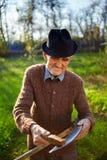 Old farmer sharpening scythe Royalty Free Stock Images