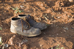 Old farmer shoes Royalty Free Stock Photography