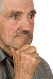 Old farmer on white Royalty Free Stock Images
