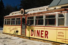 Farmers Diner, a railcar diner. The Old Farmers Diner in Quechee Vermont is a classic example of a pre-fabricated rail car diner popular in the mid 20th Century Stock Photos