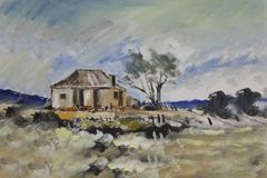 Old Farmhouse. Oil painting a old farmhouse in the Free State Stock Image