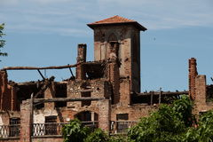 Old farmhouse in Lombardy. Italy. Ruins of a farm estate property Stock Images