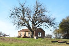 Old Farmhouse. An old one room farmhouse behind a tree and old farm equipment Royalty Free Stock Photos