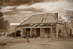 Old farmhouse ruins in sepia Stock Photography