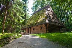 Old farmhouse in Ukraine. Traditional old farmhouse with a thatched roof in Ukraine stock images