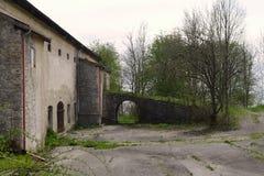 Old farmhouse. Old weathered farm in bavaria Stock Photo