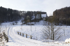 Old Farmhouse In Winter Stock Image