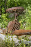 Old farming equipement. Vintage farm equipment in a provincial  park Royalty Free Stock Photos