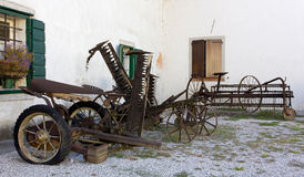 Old Farming Tools and Vehicles Royalty Free Stock Images
