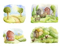 Old farms and rural landscapes set. Fields, houses, trees, domestic animals. Organic farm, local food design concept.