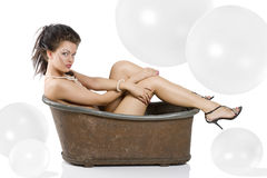 Old fashion bathtub Stock Photo