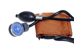 Old fashion blood pressure meter. On isolated background Stock Photos