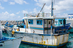 Old fashion boat at docks area Royalty Free Stock Image