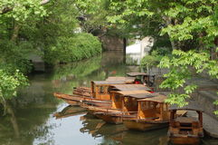 Old fashion boat in quiet water Stock Photography