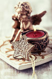 Old fashion christmas decor with a tea light Stock Photography