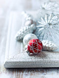 Old fashion christmas ornaments on shabby chic bac Stock Images