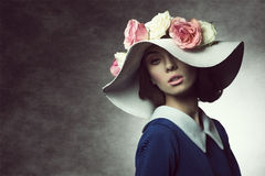 Old fashion classic spring girl Stock Images