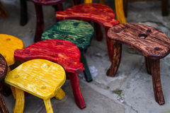 Old fashion colored chairs at market Royalty Free Stock Photo
