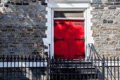 Red door in New York. Old fashion door in New York stock photo