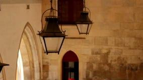 Old fashion lamp shades hanging street lamp stock footage