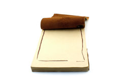 Old fashion leather notepad. On white background Royalty Free Stock Image