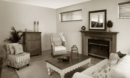 Old fashion living room. The pictures on the wall is my own image Royalty Free Stock Image