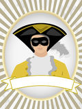 Old fashion masked man feathered hat product label. 18th Century Male wearing black and yellow mask and hat retail mascot Vector Illustration